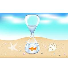 Water clock on seaside vector