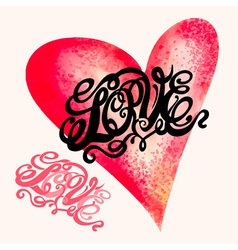 Heart symbol of love and valentines day lettering vector