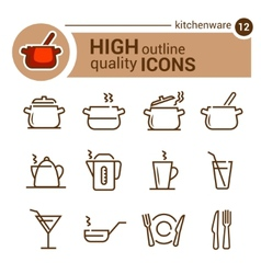 Kitchenware line icons vector