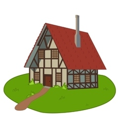 House on lawn vector