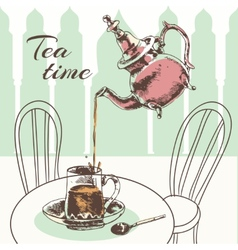 Teapot and cup tea time poster vector