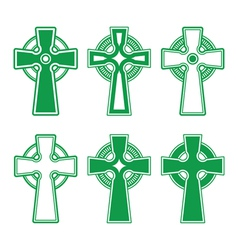 Irish scottish celtic green cross on white - vect vector