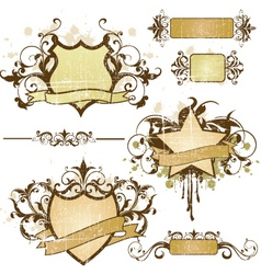 Grunge heraldry elements vector