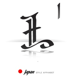English alphabet in japanese style - l - vector