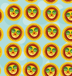 Lion seamless pattern with funny cute animal face vector