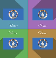 Flags marianna islands set of colors flat design vector