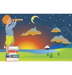 Child imagination and reading vector