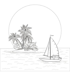 Sailing boat in the tropical sea contours vector