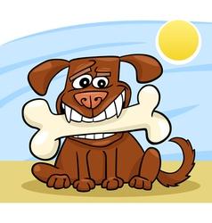 Cartoon dog with big bone vector