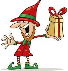 Christmas elf with special gift vector