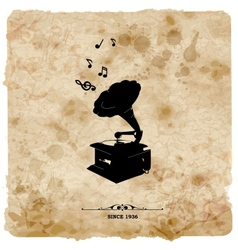 Vintage postcard retro turntable on grunge vector