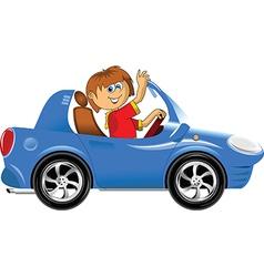 Teen driving car vector