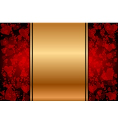 Gold background with red hearts vector
