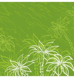 Palm trees contours on green background vector
