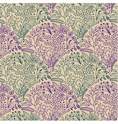 Green and purple floral seamless pattern vector