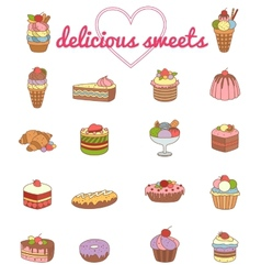 9 delicious dessert set - vector