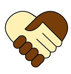 Hand shake between black and white man vector