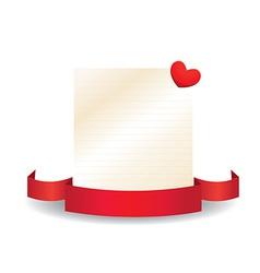 Valentine card with ribbon and label vector
