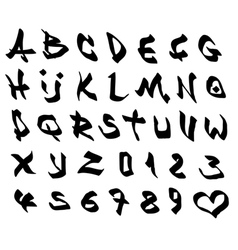 Graffiti marker font and number alphabet on white vector
