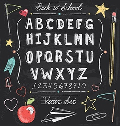 Vintage back to school chalkboard hand drawn set vector