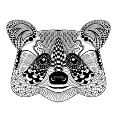 Zentangle stylized black raccoon face hand drawn vector