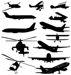 Planes and helicopters vector