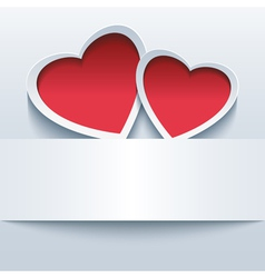 Love background with two 3d hearts vector