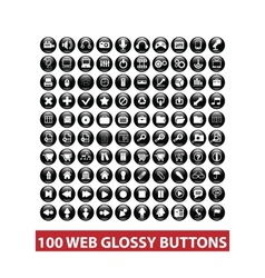 100 web black glossy buttons set vector