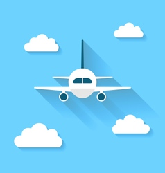Simple icons of plane and clouds with long shadows vector