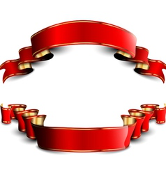 Two red royal ribbons vector
