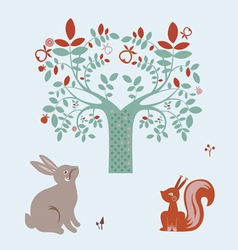 Cute animals and fantasy tree vector