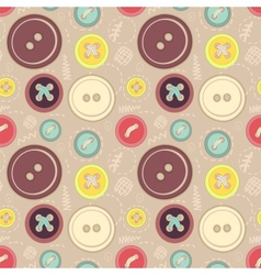 Vintage buttons sew seamless pattern vector