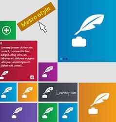 Feather retro pen icon sign metro style buttons vector