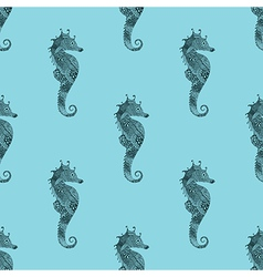 Zentangle stylized black sea horse blue seamless vector