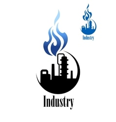 Silhouette of refinery factory with blue flame vector