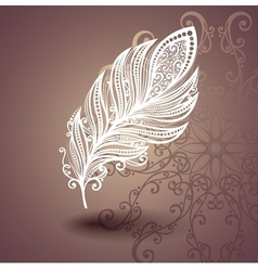 Template with feather in ornate background vector