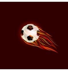 Flying soccer ball with flame vector