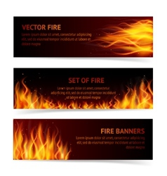 Flame banner set vector