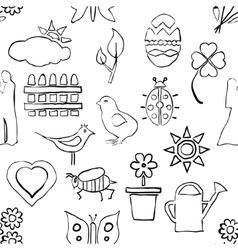 Seamless sketch spring pattern vector