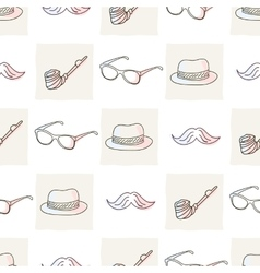 Hipster seamless pattern with hat and glasses vector