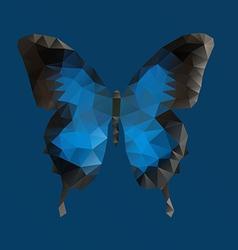 Dark blue butterfly in polygonal technique vector