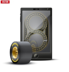 Smartphone with racing wheel and track on the vector