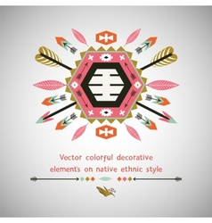 Colorful decorative element on native ethnic style vector