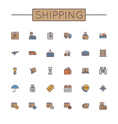 Colored shipping line icons vector