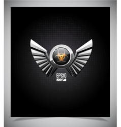 Shield with biohazard symbol and wings vector