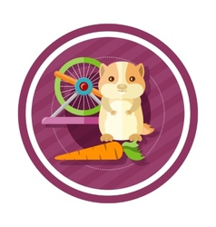 Golden hamster eating carrot vector