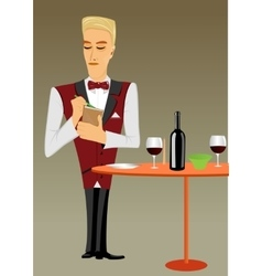 Meticulous punctual waiter taking order vector