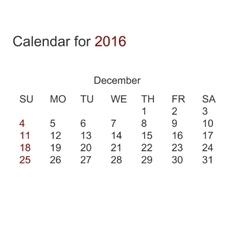 Modern calendar for december 2016 vector