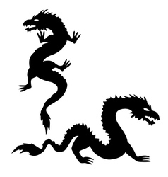 Two dragon silhouettes set 2 vector