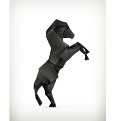Black paper horse origami vector